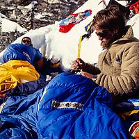 Jay Jensen and John Fischer bivouac at 20,000' in 1980 on Baruntse Peak, Nepal