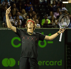 March 29, 2018 - Key Biscayne, Florida, United States - Alexander Zverev, from Germany, celebrtes a crucial point against Borna Coric, from Croatia, during his quarter final match at the Miami Open. Zverev defeated Coric 6-4, 6-4 in Miami, on March 29, 2018. (Credit Image: © Manuel Mazzanti/NurPhoto via ZUMA Press)