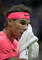 September 6, 2017 - Flushing Meadows, New York, U.S - Rafael Nadal during his match on Day Ten of the 2017 US Open against Andrey Rublev at the USTA Billie Jean King National Tennis Center on Wednesday September 5, 2017 in the Flushing neighborhood of the Queens borough of New York City. 6-1, 6-2, 6-2. JAVIER ROJAS/P (Credit Image: © Prensa Internacional via ZUMA Wire)