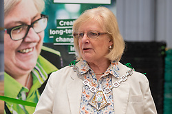 Mayor of Ashford Cllr Jesamy Blanford addresses the crowd at the opening of FareShare's relocated warehouse in Ashford, Kent. Ashford, Kent, May 23 2019.