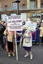 Norwich Against Fascists organised a large counter-demonstration at UK Unity 'take back control' pro-Brexit protest taking place across the road. Opposing sides of the argument. Norwich, UK 10 November 2018