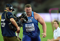 Joe Kovacs of the USA is furious after being fouled with his last throw - Mandatory byline: Patrick Khachfe/JMP - 07966 386802 - 06/08/2017 - ATHLETICS - London Stadium - London, England - Men's Shot Put Final - IAAF World Championships