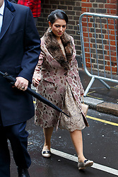 © Licensed to London News Pictures. 05/03/2016. London, UK. Minister of Employment PRITTI PATEL arriving at Rupert Murdoch and Jerry Hall's wedding ceremony at St Bride's Church in Fleet Street, London on Saturday, 5 March 2016. Photo credit: Tolga Akmen/LNP