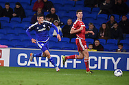 Alex Revell of Cardiff city (l) chases down the ball.  Skybet football league championship match, Cardiff city v Middlesbrough at the Cardiff city Stadium in Cardiff, South Wales  on Tuesday 20th October 2015.<br /> pic by  Andrew Orchard, Andrew Orchard sports photography.