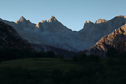 Sunrise on the peaks of the Picos de Europa seen from the town of Arenas de Cabrales in northern Spain