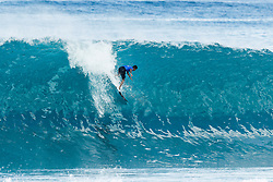 December 11, 2017 - Hawaii, U.S. - Miguel Pupo of Brazil advances directly to Round Three of the 2017 Billabong Pipe Masters after winning Heat 5 of Round One on the North Shore of Oahu.  Pupo caused an upset in Round One when he defeated World No.2 Gabriel Medina (BRA). (Credit Image: © Damien Poullenot/WSL via ZUMA Wire)