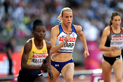 Great Britain's Lynsey Sharp during the Women's 800m heats during day seven of the 2017 IAAF World Championships at the London Stadium.