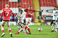 Charlton Athletic midfielder Marcus Maddison battles for possession with Dion Charles of Accrington Stanley during the EFL Sky Bet League 1 match between Charlton Athletic and Accrington Stanley at The Valley, London, England on 8 January 2021.