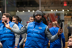 """The Michigan Wolverines and the Florida Gators participate in """"Battle for Bowl Week"""" games at the College Football Hall of Fame on Wednesday, December 26, 2018, in Atlanta. Michigan will face Florida in the 2018 Chick-fil-A Peach Bowl NCAA football game on December 29, 2018. (Paul Abell via Abell Images for the Chick-fil-A Peach Bowl)"""