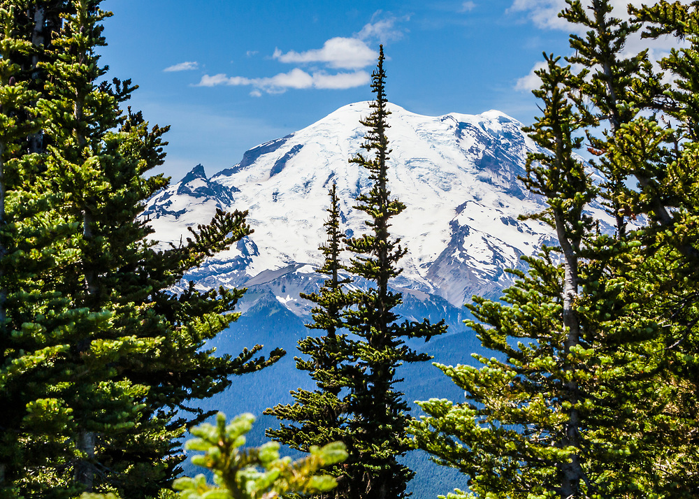 Mount Rainier's East side from Crystal Mountain resort's top, Washington, USA.