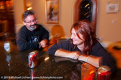 Arlen Ness' daughter Sherri Foxworthy and her husband Craig at a celebration at Bev's and Arlen Ness' home for the unveiling of the completed Top Banana Biker Build-Off bike. Alamo, CA. 2004. Photograph ©2004 Michael Lichter