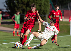 LIVERPOOL, ENGLAND - Wednesday, September 15, 2021: Liverpool's Luke Chambers (L) is tackled by AC Milan's Antonio Gala during the UEFA Youth League Group B Matchday 1 game between Liverpool FC Under19's and AC Milan Under 19's at the Liverpool Academy. Liverpool won 1-0. (Pic by David Rawcliffe/Propaganda)