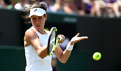 Johanna Konta on day two of the Wimbledon Championships at the All England Lawn Tennis and Croquet Club, Wimbledon.