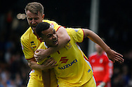Josh Murphy (Right) of MK Dons celebrates  with teammate Dean Bowditch (Left) after he scores his teams 1st goal. Skybet football league championship match, Fulham  v Milton Keynes Dons at Craven Cottage in London on Saturday 2nd April 2016.<br /> pic by Steffan Bowen, Andrew Orchard sports photography.