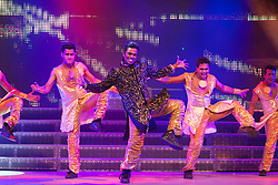 """© Licensed to London News Pictures. 29/01/2014. London, England. Picture: Romi Jaspal dancing. The show """"The Merchants of Bollywood"""" returns to the Peacock Theatre/Sadler's Wells from 28 January to 15 February 2014. Photo credit: Bettina Strenske/LNP"""