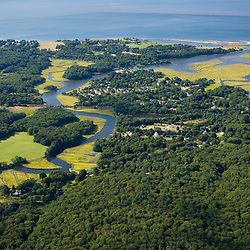 The Black Hall River where it empties into the mouth of the Connecticut River in Old Lyme, Connecticut.  Aerial.  Long Island Sound.