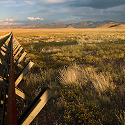 Mexico/New Mexico border. From the Mexican side, Looking east along the  normandy barrier style border fence, Animas Valley, Sonora Mexico