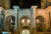Turkey, Antalya, Hadrian's Gate at night