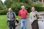 David Reed with Richard and Fenella Hodson of Godalming, UK. (Material World Family from Great Britain UK) after pub lunch at White Horse Inn, Hascomb. MODEL RELEASED.