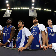 Anadolu Efes's players during their Turkish Airlines Euroleague Basketball Top 16 Round 11 match Anadolu Efes between Nizhny Novgorod at Abdi ipekci arena in Istanbul, Turkey, Thursday March 19, 2015. Photo by Aykut AKICI/TURKPIX