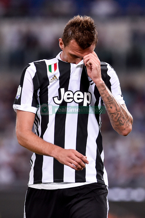 August 13, 2017 - Rome, Italy - Mario Mandzukic of Juventus looks dejected during the Italian Supercup Final match between Juventus and Lazio at Stadio Olimpico, Rome, Italy on 13 August 2017. (Credit Image: © Giuseppe Maffia/NurPhoto via ZUMA Press)