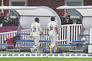 Tom Westley of Essex and Alastair Cook of Essex walk off as rain stops play during the Specsavers County Champ Div 1 match between Somerset County Cricket Club and Essex County Cricket Club at the Cooper Associates County Ground, Taunton, United Kingdom on 26 September 2019.