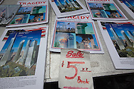 9/11 related merchandise for sale near  Ground Zero on the 10th anniversary of the 9/11.<br /> New York City  commemorated the 10th anniversary of the 9/11 attacks on the World Trade Center towers despite new credible threats of terrorism.