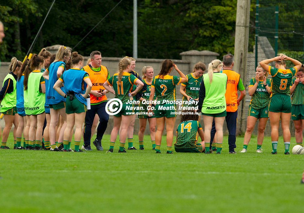 10-07-21. Meath v Cork - LGFA All-Ireland Senior Championship - Group 3 Round 1 at St. Brendan's Park, Birr.<br /> Disappointed Meath players after the final whistle.<br /> Photo: John Quirke / www.quirke.ie<br /> ©John Quirke Photography, 16 Proudstown Road, Navan. Co. Meath. (info@quirke.ie / 046-9028461 / 087-2579454).