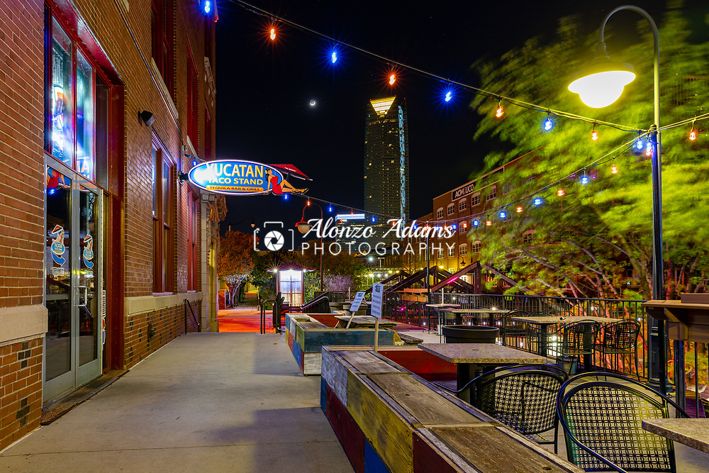 Bars, clubs and restaurants in the Bricktown Entertianment District of Oklahoma City sit empty on Saturday, March 28, 2020 due to the Coronavirus pandemic. Photo copyright © 2020 Alonzo J. Adams.