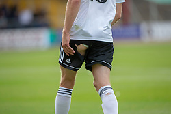 Ayr United's James Adams ripped shorts. Dundee 0 v 3 Ayr United, Scottish League Cup Second Round, played 18/8/2018 at the Kilmac Stadium at Dens Park, Scotland.