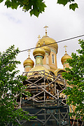 Domes and crucifixes on the Russian Church in Bucharest, Romania