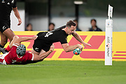 Ben Smith of New Zealand scores a try that has been disallowed during the Rugby World Cup bronze final match between New Zealand and Wales Friday, Nov, 1, 2019, in Tokyo. New Zealand defeated Wales 40-17.  (Flor Tan Jun/Espa-Images-Image of Sport)