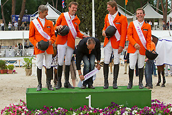 Team of the Netherlans winners of the FEI Nations Cup Rome 2011<br /> Van der Vleuten Eric, Smolders Harry, Chef d'equipe Ehrens Rob, Dubbeldam Jeroen, Schroder Gerco<br /> © Dirk Caremans