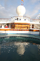 Voyages of Discovery's newly refurbished ship mv Voyager..The Lido pool.