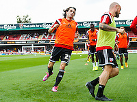 Brentford FC's Jota warming up before the Sky Bet Championship game against Leeds United at Griffin Park