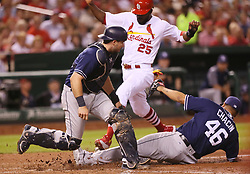 August 22, 2017 - St Louis, MO, USA - The St. Louis Cardinals' Dexter Fowler (25) scores on a wild pitch by San Diego Padres pitcher Jhoulys Chacin (46) in the fifth inning on Tuesday, Aug. 22, 2017, at Busch Stadium in St. Louis. (Credit Image: © Chris Lee/TNS via ZUMA Wire)