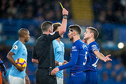 December 8, 2018 - London, Greater London, England - Jorginho of Chelsea receives a yellow card during the Premier League match between Chelsea and Manchester City at Stamford Bridge, London, England on 8 December 2018. (Credit Image: © AFP7 via ZUMA Wire)