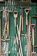 Tools hang on a wall at Dripping Springs Gardens on Monday, April 21, 2014, in Northwest Arkansas.<br /> Photo by Beth Hall