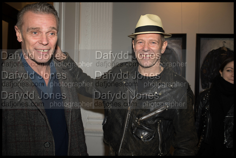 PAUL SIMONON AND HIS BROTHER ( LEFT ), Private view, Paul Simonon- Wot no Bike, ICA Nash and Brandon Rooms, London. 20 January 2015