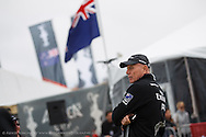 AC World Series San Francisco #1, August 21-26, 2012, Managing Director of Emirates Team New Zealand, Grant Dalton, watches racing from outside the team tent on Marina Green
