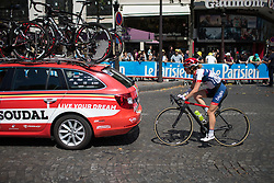 Gabrielle Pielote-Fortin (CAN) of Cervélo-Bigla Cycling Team tries to get back to the peloton during the La Course, a 89 km road race in Paris on July 24, 2016 in France.
