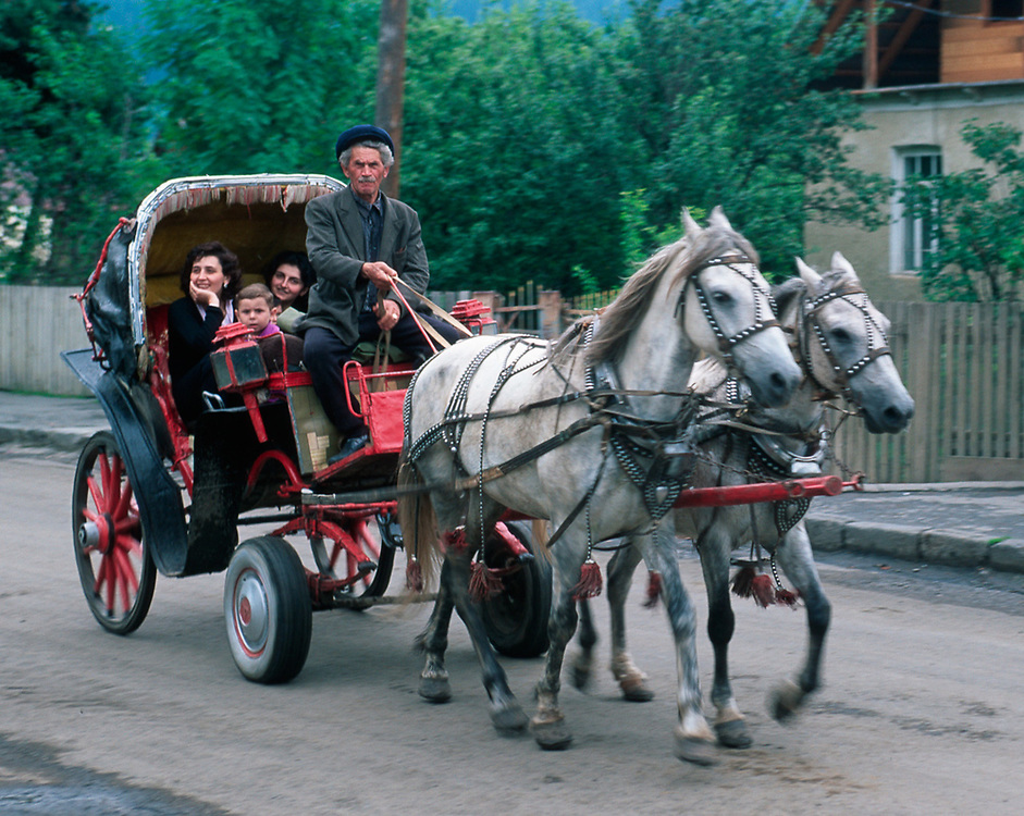 Horse drawn carriage, Bakuriani, The Country of Georgia