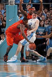 10 January 2010: Virginia Tech forward Jeff Allen (00) tries to fend of Tar Heel forward Tyler Zeller (44) during a 78-64 North Carolina Tar Heels win at the Dean E. Smith Center in Chapel Hill, NC.