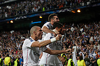 Real Madrid's Pepe cerebrates a goal (1-0) with Cristiano Ronaldo, Carvajal and Sergio Ramos during quarterfinal second leg Champions League soccer match against Atletico de Madrid at Santiago Bernabeu stadium in Madrid, Spain. April 22, 2015. (ALTERPHOTOS/Victor Blanco)