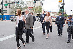 August 14, 2017 - Denver, Colorado, U.S - Tree Paine and other people associated with Taylor Swift leave the courthouse at the end of the Taylor Swift Groping Trial against radio DJ David Mueller at the Alfred A. Arraj United States Courthouse. She won her counter-suit. (Credit Image: © Matthew Staver via ZUMA Wire)