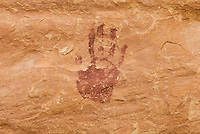 Anasazi handprints on canyon walls of Grand Gulch, Cedar Mesa Utah Bears Ears National Monument
