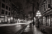 Water Street, Gastown @ Night (monochrome)