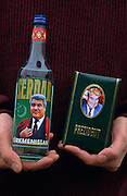 Ashgabat, Turkmenistan, October 1997..Vodka and perfume packaged with the portrait of President Saparmurat Niyazov..Poverty-stricken, but rich in oil and gas resources, this Central Asian former Soviet republic is ruled by the autocratic President Saparmurat Niyazov, or Turkmenbashi as he has renamed himself...............