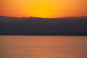 Beautiful orange sunset over the Dead Sea, Jordan