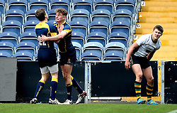 Alex Forrester (Hartpury College) of Worcester Warriors U18 celebrates with Louis Jackson (King Edward VI School Stratford) of Worcester Warriors U18 after scoring a try - Mandatory by-line: Robbie Stephenson/JMP - 22/01/2017 - RUGBY - Sixways Stadium - Worcester, England - Worcester Warriors U18 v Northampton Saints U18 - Premiership Rugby U18 Academy League